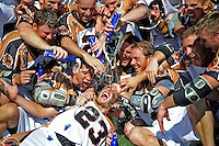 24 August 2008: The Rochester Rattlers celebrate victory after defeating the Denver Outlaws in the Championship Game of the Major League Lacrosse Championship Weekend at Harvard Stadium in Boston, MA. The Rattles took control of the second half and outscored the Outlaws 16-6 to take the league honor for the 2008 season...Mandatory Photo Credit: Ed Wolfstein Photo