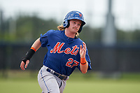 GCL Mets Nick Conti (27) running the bases during a Gulf Coast League game against the GCL Astros on August 10, 2019 at FITTEAM Ballpark of the Palm Beaches Training Complex in Palm Beach, Florida.  GCL Astros defeated the GCL Mets 8-6.  (Mike Janes/Four Seam Images)