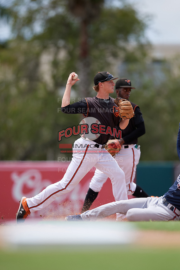 GCL Orioles shortstop Gunnar Henderson (9) turns a double play as second baseman Carlos Baez (13) backs up the play during a Gulf Coast League game against the GCL Braves on August 5, 2019 at Ed Smith Stadium in Sarasota, Florida.  GCL Orioles defeated the GCL Braves 4-3 in the second game of a doubleheader.  (Mike Janes/Four Seam Images)
