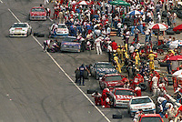 Buusy, crowded pit road during pit stops in the Southern 500 at Darlington Raceway in Darlington, SC in September 1988. (Photo by Brian Cleary/www.bcpix.com)