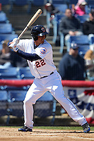 Binghamton Mets outfielder Pedro Zapata #22 during a game against the Akron Aeros at NYSEG Stadium on April 7, 2012 in Binghamton, New York.  Binghamton defeated Akron 2-1.  (Mike Janes/Four Seam Images)