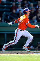 Second baseman Steve Wilkerson (17) of the Clemson Tigers in the Reedy River Rivalry game against the South Carolina Gamecocks on March 1, 2014, at Fluor Field at the West End in Greenville, South Carolina. South Carolina won, 10-2.  (Tom Priddy/Four Seam Images)