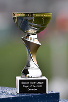 """illustration picture of the """"Trophee of The Scooore Super League Player of the Moth December""""  pictured during a female soccer game between SV Zulte - Waregem and Sporting Charleroi on the eleventh matchday of the 2020 - 2021 season of Belgian Scooore Womens Super League , saturday 23 th of January 2021  in Zulte , Belgium . PHOTO SPORTPIX.BE   SPP   DIRK VUYLSTEKE"""