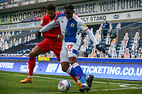 Blackburn Rovers' Amari'i Bell holds off the challenge from Nottingham Forest's Cyrus Christie<br /> <br /> Photographer Alex Dodd/CameraSport<br /> <br /> The EFL Sky Bet Championship - Blackburn Rovers v Nottingham Forest - Saturday 17th October 2020 - Ewood Park - Blackburn<br /> <br /> World Copyright © 2020 CameraSport. All rights reserved. 43 Linden Ave. Countesthorpe. Leicester. England. LE8 5PG - Tel: +44 (0) 116 277 4147 - admin@camerasport.com - www.camerasport.com