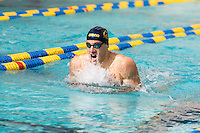 BERKELEY, CA - Feb. 18, 2017: Cal's Hunter Cobleigh swims in the Men 200 Yard Breaststroke.  Cal Men's Swimming and Diving competed against Stanford at Spieker Aquatics Complex.