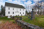 Harrington Meeting House in Bristol, Maine during the autumn months. Built 1772-1775, this meetinghouse was added to the National Register of Historic Places in 1970.