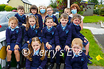 Knockanure NS: Mrs. Kiely's  junior infants class with SNA Eileen Kennelly on their first day at school at Knockanure NS.