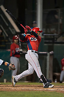 Orem Owlz third baseman Kevin Maitan (9) follows through on his swing during a Pioneer League game against the Helena Brewers at Kindrick Legion Field on August 21, 2018 in Helena, Montana. The Orem Owlz defeated the Helena Brewers by a score of 6-0. (Zachary Lucy/Four Seam Images)