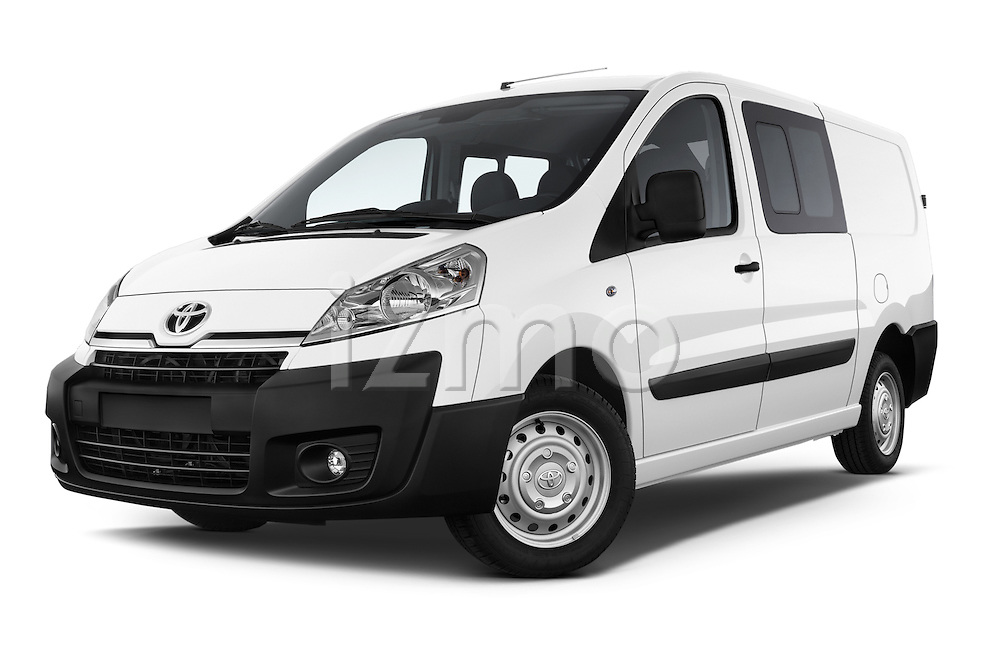 Stock pictures of low aggressive front three quarter view of a 2013 Toyota PROACE COMFORT 5 Door Combi Low Aggressive