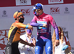 Remco Evenepoel (BEL) Deceuninck-Quick Step takes the overall general classification with Mikel Landa Meana (ESP) Bahrain-McLaren 2nd at the end of Stage 5 of the Vuelta a Burgos 2020, running 158km from the Covarrubias to Lagunas de Neila, Spain. 1st August 2020. <br /> Picture: Colin Flockton | Cyclefile<br /> <br /> All photos usage must carry mandatory copyright credit (© Cyclefile | Colin Flockton)