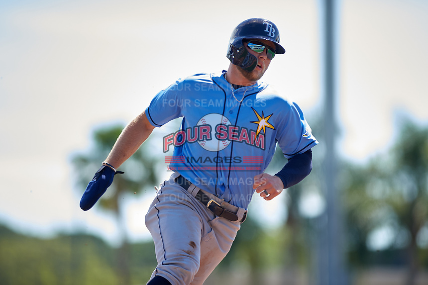 Tampa Bay Rays designated hitter Austin Meadows (17) runs the bases during a Grapefruit League Spring Training game against the Baltimore Orioles on March 1, 2019 at Ed Smith Stadium in Sarasota, Florida.  Rays defeated the Orioles 10-5.  (Mike Janes/Four Seam Images)