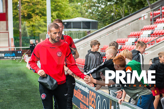 Fleetwood Town's Tommy Spurr during the Sky Bet League 1 match between Fleetwood Town and Bradford City at Highbury Stadium, Fleetwood, England on 1 September 2018. Photo by Stephen Buckley / PRiME Media Images.