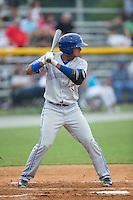 Yeltsin Gudino (2) of the Bluefield Blue Jays at bat against the Burlington Royals at Burlington Athletic Park on July 1, 2015 in Burlington, North Carolina.  The Royals defeated the Blue Jays 5-4. (Brian Westerholt/Four Seam Images)