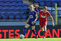 Tessa Wullaert (27) of Anderlecht pictured with Maurane Marinucci (7) of Standard  during a female soccer game between RSC Anderlecht Dames and Standard Femina de Liege on the sixth matchday of the 2021 - 2022 season of Belgian Womens Super League , saturday 9 th of October 2021  in Brussels , Belgium . PHOTO SPORTPIX | DAVID CATRY