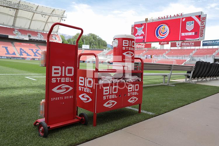 SANDY, UT - JUNE 10: BIO STEEL before a game between Costa Rica and USMNT at Rio Tinto Stadium on June 10, 2021 in Sandy, Utah.
