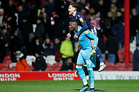 Brice Samba of Nottingham Forest and Matty Cash during the Sky Bet Championship match between Brentford and Nottingham Forest at Griffin Park, London, England on 28 January 2020. Photo by Carlton Myrie.