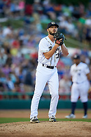 Kane County Cougars relief pitcher Lane Ratliff (30) gets ready to deliver a pitch during a game against the West Michigan Whitecaps on July 19, 2018 at Northwestern Medicine Field in Geneva, Illinois.  Kane County defeated West Michigan 8-5.  (Mike Janes/Four Seam Images)