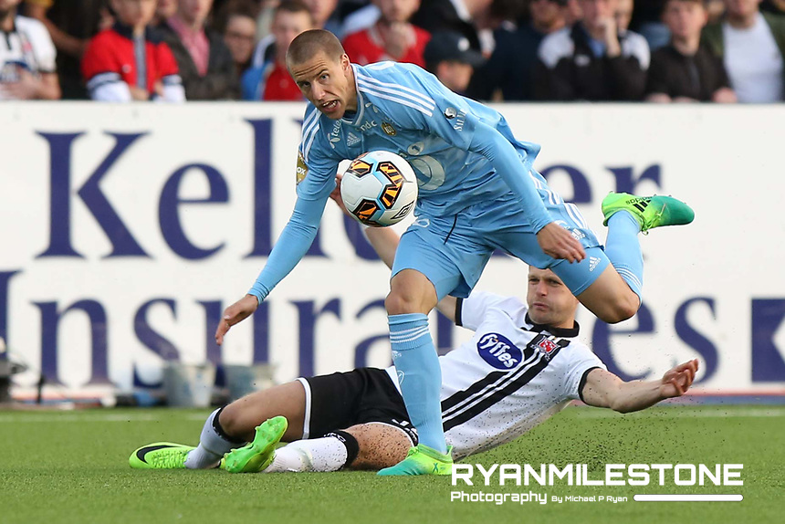 UEFA Champions League Second Qualifying Round, Dundalk FC vs Rosenborg, Wednesday 12th July 2017, Oriel Park, Co Louth, Milan Jevtovic in action against Dane Massey, Credit: Michael P Ryan