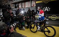 defending champion Mathieu Van der Poel (NED/Alpecin-Fenix) getting a lot of attention at the race start in Antwerpen<br /> <br /> 105th Ronde van Vlaanderen 2021 (MEN1.UWT)<br /> <br /> 1 day race from Antwerp to Oudenaarde (BEL/264km) <br /> <br /> ©kramon