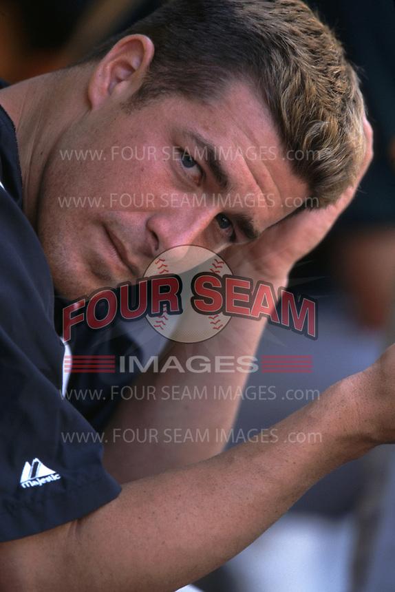 Mark Mulder of the Oakland Athletics during a 2001 season MLB game at Angel Stadium in Anaheim, California. (Larry Goren/Four Seam Images)