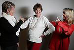 """Sharon Novick, left, and Terry Ball, right, react to Erin Ball striking a pose during a portrait session on New Years Eve at the Hynds Building. All three ladies listed their age as 'old' on our form however it's clear they are young in spirit. All three women also said friendship and the people are what makes Laramie County special to them.  To participate in WTE Photo Editor Michael Smith's 2014 """"Our Faces: Portraits of Laramie County"""" project, call him at 633-3124 or 630-8388 or email msmith@wyomingnews.com. Michael Smith/staff"""