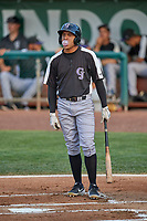 Jose Gutierrez (21) of the Grand Junction Rockies at bat against the Ogden Raptors at Lindquist Field on June 5, 2021 in Ogden, Utah. The Raptors defeated the Rockies 18-1. (Stephen Smith/Four Seam Images)