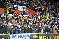 SWANSEA, WALES - JANUARY 17:   of  during the Barclays Premier League match between Swansea City and Chelsea at Liberty Stadium on January 17, 2015 in Swansea, Wales. Chelsea fans celebrating their goal