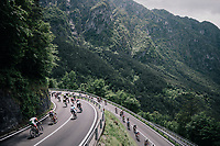 peloton descending towards the Lago di Ledro<br /> <br /> stage 17: Riva del Garda - Iseo (155 km)<br /> 101th Giro d'Italia 2018