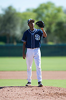 San Diego Padres relief pitcher Miguel Rondon (39) waits to receive the ball back from the catcher during an Instructional League game against the Los Angeles Dodgers at Camelback Ranch on September 25, 2018 in Glendale, Arizona. (Zachary Lucy/Four Seam Images)