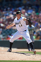 Charlotte Knights relief pitcher Rob Scahill (14) in action against the Gwinnett Stripers at BB&T BallPark on May 2, 2018 in Charlotte, North Carolina.  The Knights defeated the Stripers 6-5.  (Brian Westerholt/Four Seam Images)