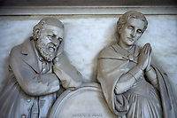 Pictures of the Dominico Boasi & his wife, Boasi tomb 1870, stone sculptured monumental tomb of the Staglieno Monumental Cemetery, . Genoa, Italy