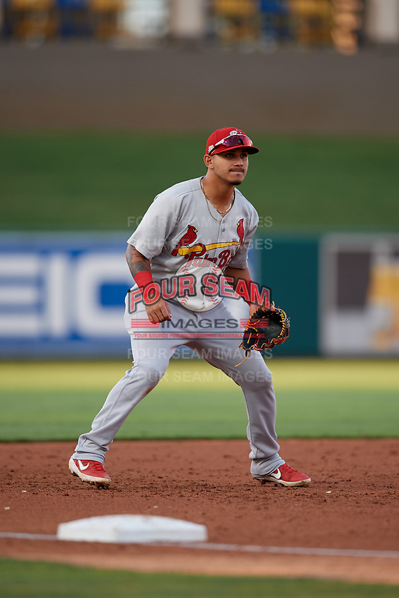 Palm Beach Cardinals third baseman Yariel Gonzalez (16) during a Florida State League game against the Lakeland Flying Tigers on April 17, 2019 at Publix Field at Joker Marchant Stadium in Lakeland, Florida.  Lakeland defeated Palm Beach 1-0.  (Mike Janes/Four Seam Images)