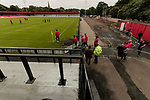 Salford City 2 FC United of Manchester 1, 15/07/2017. Moor Lane, Pre Season Friendly. Salford players inspect the pitch before the game. Salford City v FC United of Manchester in a pre season friendly at Moor Lane Salford. Photo by Paul Thompson.