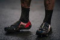 Katie Compton's (USA/KFC Racing p/b Trek/Panache) post-race shoes <br /> <br /> women's race<br /> Soudal Jaarmarktcross Niel 2018 (BEL)