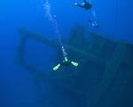 Orchid Island, Taiwan -- Divers approaching the sunken Ba Dai ship wreck.