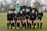 Woluwe's team with +W16+   Woluwe's Stefanie Deville (3)   Woluwe's Anouck Cochez (4)   Woluwe's Magali Dinon (6)   Woluwe's Jana Simons (8)   Woluwe's Kenza Vrithof (9)   Woluwe's Marie Bougard (10)   Woluwe's Selina Gijsbrechts (11)   Woluwe's Stephanie Suenens (17)   Woluwe's Sheila Broos (20)   Woluwe's Estelle Peron (45)    pictured during a female soccer game between SV Zulte - Waregem and White Star Woluwe on the 9th matchday of the 2020 - 2021 season of Belgian Scooore Women s SuperLeague , saturday 12 th of December 2020  in Waregem , Belgium . PHOTO SPORTPIX.BE | SPP | DIRK VUYLSTEKE