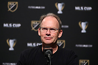 SEATTLE, WA - NOVEMBER 10: Head Coach Brian Schmetzer of the Seattle Sounders FC talks to the media in the postgame press conference during a game between Toronto FC and Seattle Sounders FC at CenturyLink Field on November 10, 2019 in Seattle, Washington.