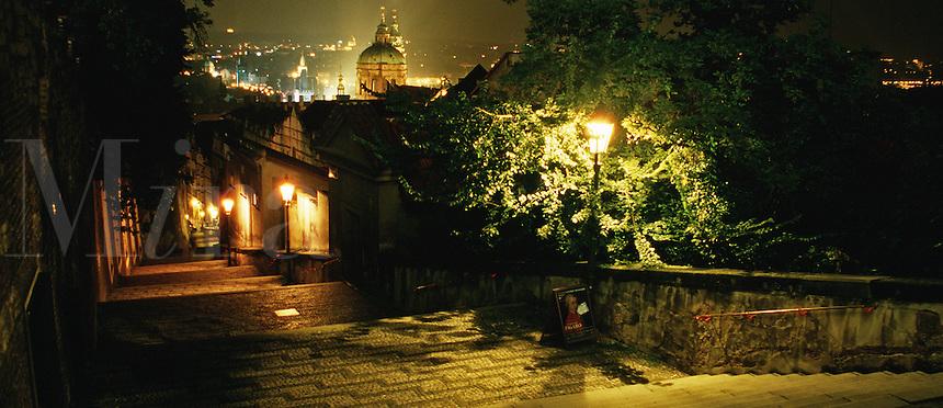 The old castle steps at night. Prague, Czech Republic.