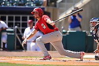 Springfield Cardinals Breyvic Valera (32) swings during the game against the Northwest Arkansas Naturals at Arvest Ballpark on May 4, 2016 in Springdale, Arkansas.  Springfield won 10-6.  (Dennis Hubbard/Four Seam Images)