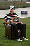 """Simon Khan was asked by Ballantine's at the BMW Masters to describe how he stays true to himself; his answer is shown. Ballantine's, who recently announced their new global marketing campaign, """"Stay True, Leave An Impression"""", is a sponsor at the BMW Masters, which takes place from the 24-27 October at Lake Malaren Golf Club in Shanghai.  Photo by Andy Jones / The Power of Sport Images for Ballantines."""