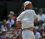June 25, 2009.Lleyton Hewitt, of Australia, in action, defeating Juan Martin Del Potro of Argentina, 6-3, 7-5, 7-5 in the second round at the All England Lawn Tennis Club, Wimbledon, England