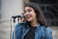 """Sophie Nazemi (Organiser of the event).<br /> <br /> London, 21/06/2016. Today, hundreds of people gathered in Trafalgar Square to hold a demonstration in support with the """"Stay In the EU/Remain in the EU"""" campaigns ahead of the EU referendum which will be held in Great Britain the 23rd of June 2016. From the organiser Facebook page: <<[…] Thursday's vote is about much more than the tangible benefits of our membership in the EU, it's about the kind of country we want to live in and the kind of future we want to see. […] Let's come together to promote the values that define our generation and make sure we vote Remain on June 23rd>>.<br /> <br /> For more information please click here: https://www.facebook.com/events/1726890050917017/?active_tab=highlights"""