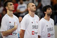 Kosarka-Basketball<br /> Srbija v Grcka-Prijateljski Mec<br /> from left Nemanja Dangubic Marko Simonovic Milos Teodosic<br /> Beograd, 28.06.2016.<br /> foto: Srdjan Stevanovic/Starsportphoto ©