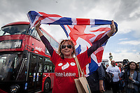 """London, 15/06/2016. Today, the River Thames outside the Houses of Parliament was the stage of an epic """"naval battle"""" between the """"Brexit Flotilla"""", lead by the UKIP leader Nigel Farage MEP, and the """"In Flotilla"""", lead by the Irish singer-songwriter Bob Geldof KBE. Nigel Farage MEP lead a flotilla of fishing trawlers from Southend in Essex sailing to the River Thames in front of the British Parliament to call for the UK's withdrawal from the EU and to repossess """"our water back"""". The protest and the counter protest were set to coincide with Prime Minister David Cameron question time.<br /> <br /> For more information about the """"Leave the EU"""" campaigns (for Brexit) please click here:  http://leave.eu/ & http://www.voteleavetakecontrol.org/<br /> <br /> For more information about the """"Remain In the EU"""" campaign (to stay in the EU) please click here: http://www.strongerin.co.uk/"""