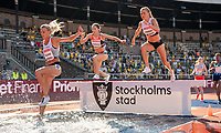 4th July 2021; Stockholm Olympic Stadium, Stockholm, Sweden; Diamond League Grand Prix Athletics, Bauhaus Gala; 3000m Steeplechase women's race with Gregson, Lawrence and Falland