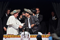 Santa Cruz, Bolivia<br /> A picture dated July 9, 2015 shows Bolivian President Evo Morales with Pope Francis during a meeting with the Social Movements during his visit to Bolivia.