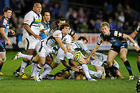 Lee Dickson of Northampton Saints passes during the LV= Cup second round match between Ospreys and Northampton Saints at Riverside Hardware Brewery Field, Bridgend (Photo by Rob Munro)