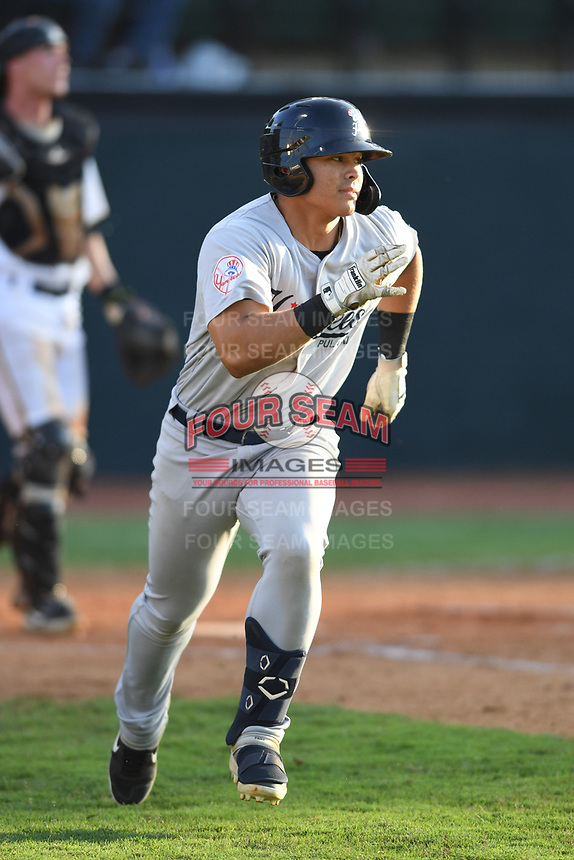 Pulaski Yankees Antonio Cabello (22) runs to first base against the Bristol Pirates at Boyce Cox Field on July 8, 2019 in Bristol, Virginia. The Yankees defeated the Pirates 5-0. (Tracy Proffitt/Four Seam Images)