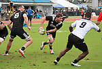 Tawera Kerr-Barlow about to pass. Maori All Blacks vs. Fiji. Suva. MAB's won 27-26. July 11, 2015. Photo: Marc Weakley