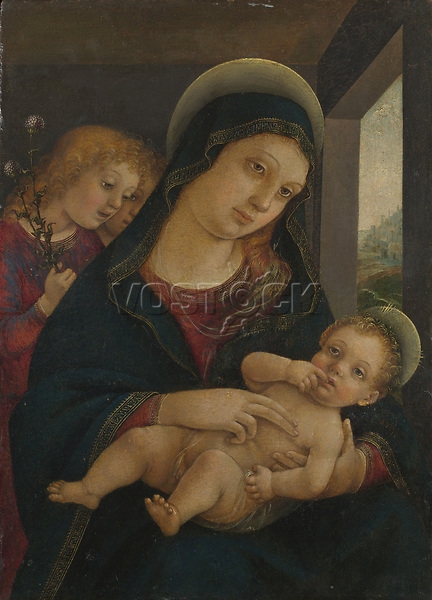 Full title: The Virgin and Child with Two Angels<br /> Artist: Liberale da Verona<br /> Date made: probably about 1490-1510<br /> Source: http://www.nationalgalleryimages.co.uk/<br /> Contact: picture.library@nationalgallery.co.uk<br /> <br /> Copyright © The National Gallery, London